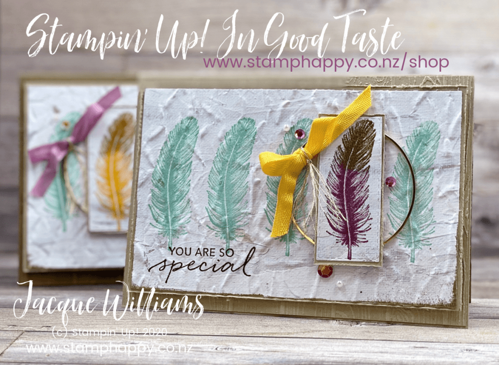 stampin up new zealand in good taste one of a kind feather gold hoop jacque williams stamparatus misti masculine card classes auckland made in new zealand