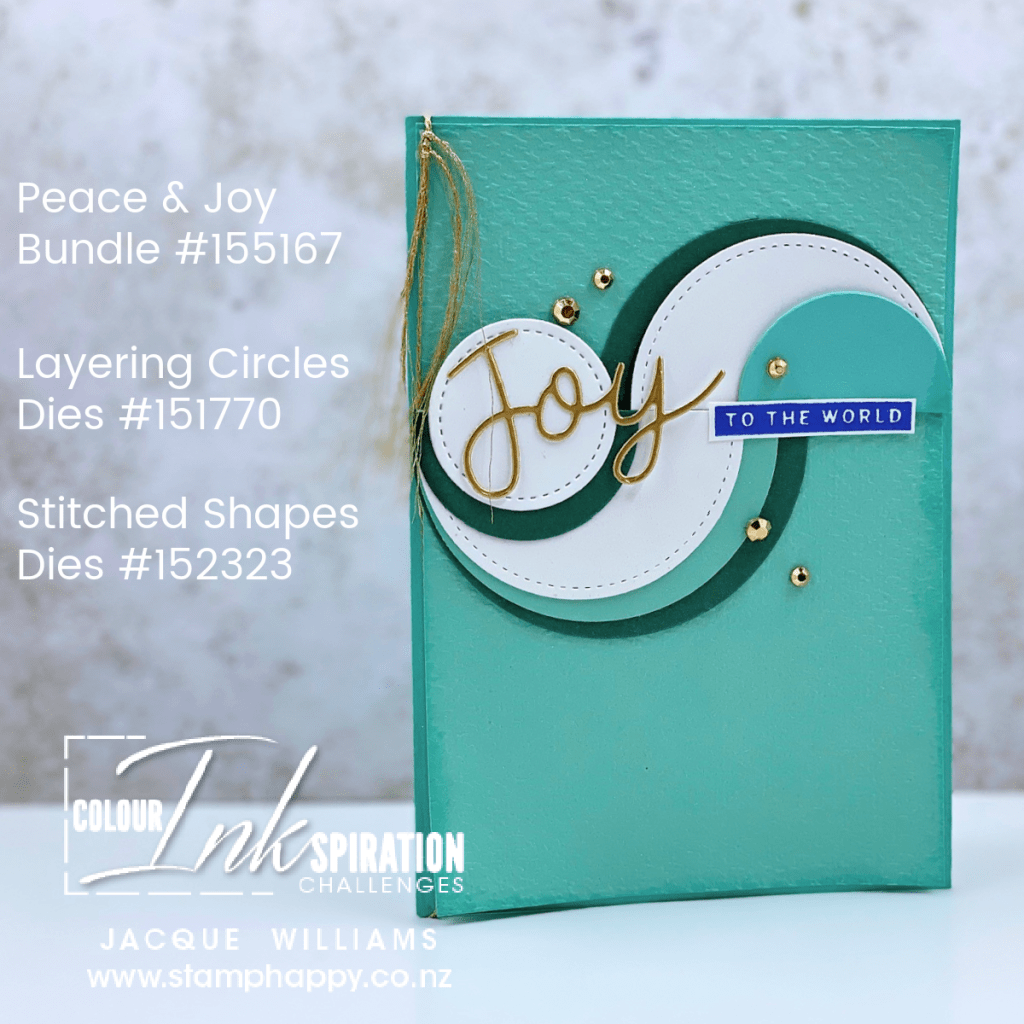 stampin up peace and joy swirly circle card nontraditional christmas card color challenge summer christmas card southern hemisphere made in new zealand