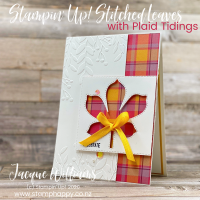 Love of Leaves with Plaid Tidings Window Card