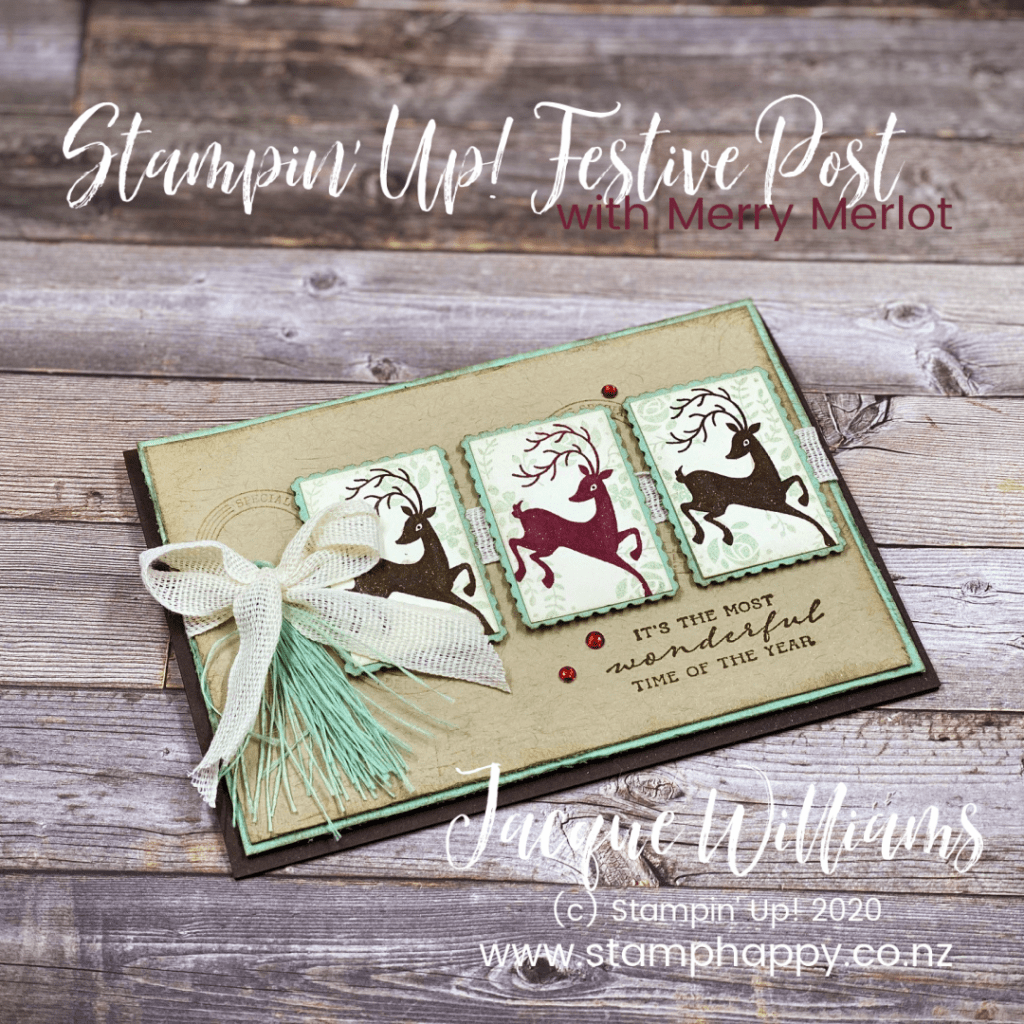 stampin up posted for you festive post vintage christmas card merry merlot christmas card quick easy unique one of a kind no die cutting