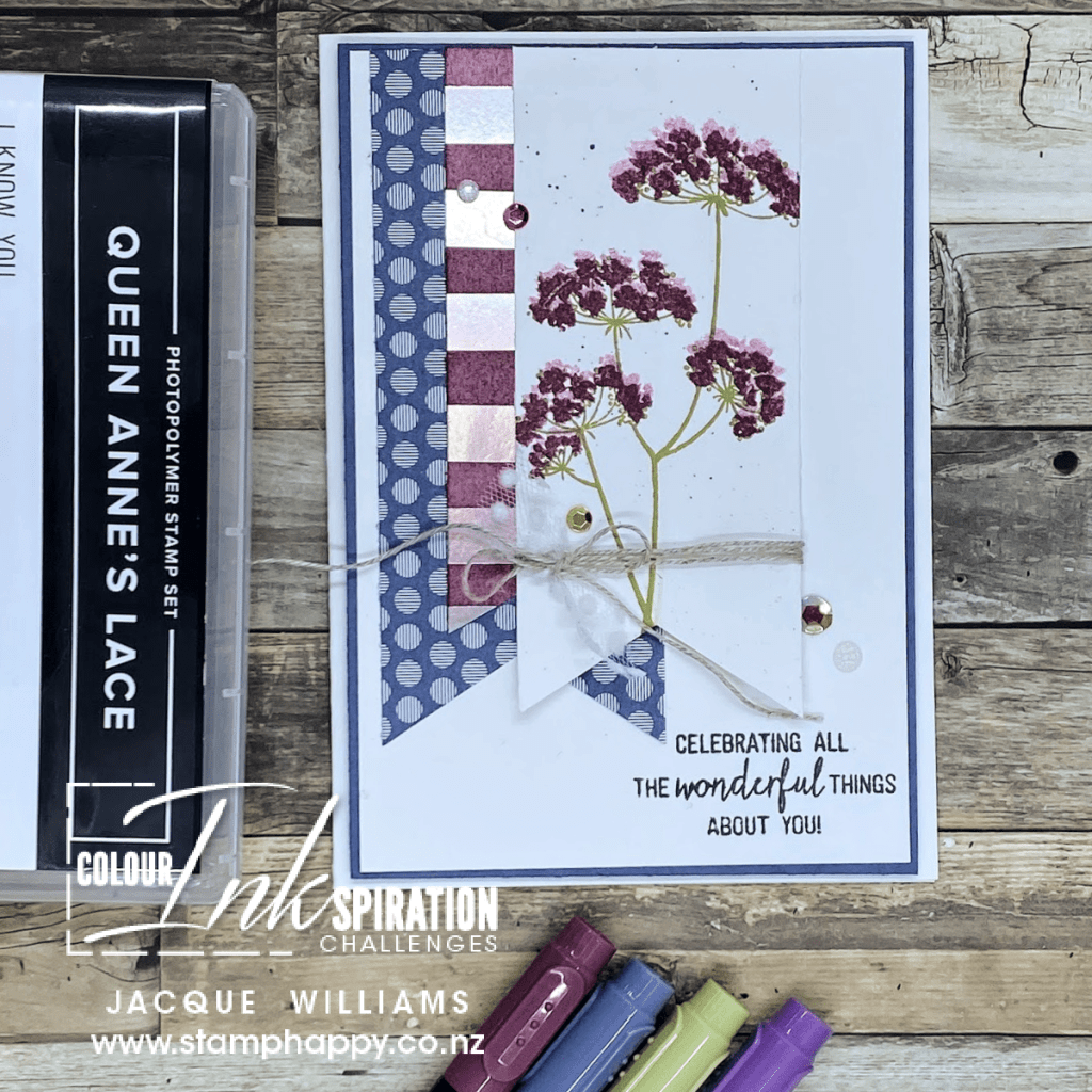 Stampin Up Queen Anne's Lace Anne color challenge misty moonlight video tutorial for beginner simple stamping two step stamping