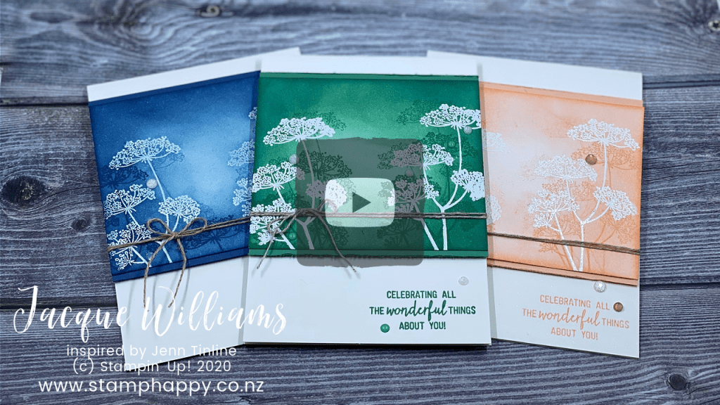 stampin up queen anne's lace jenn tinline sponging technique monochromatic card gift idea video tutorial one ink pad one stamp image