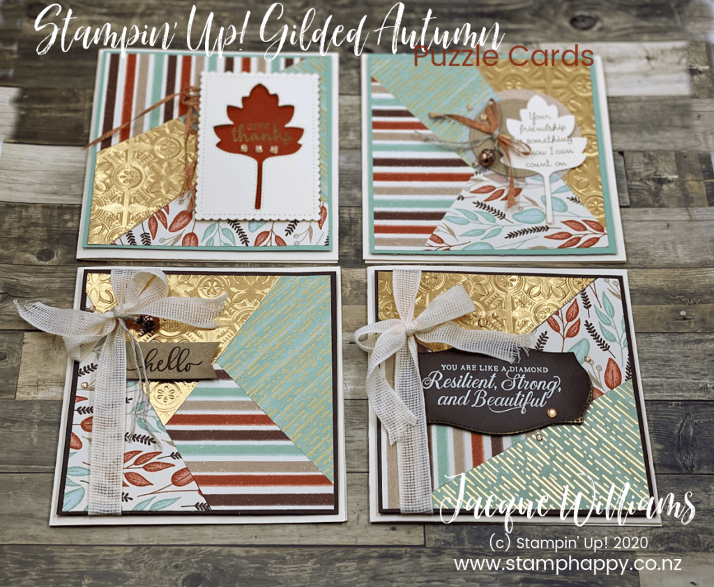 stampin up stitched leaves gilded autumn puzzle card jacque williams jackie new zealand video tutorial brushed metallic tin tile punched tin quick easy card idea patterned paper copper acorn cinnamon
