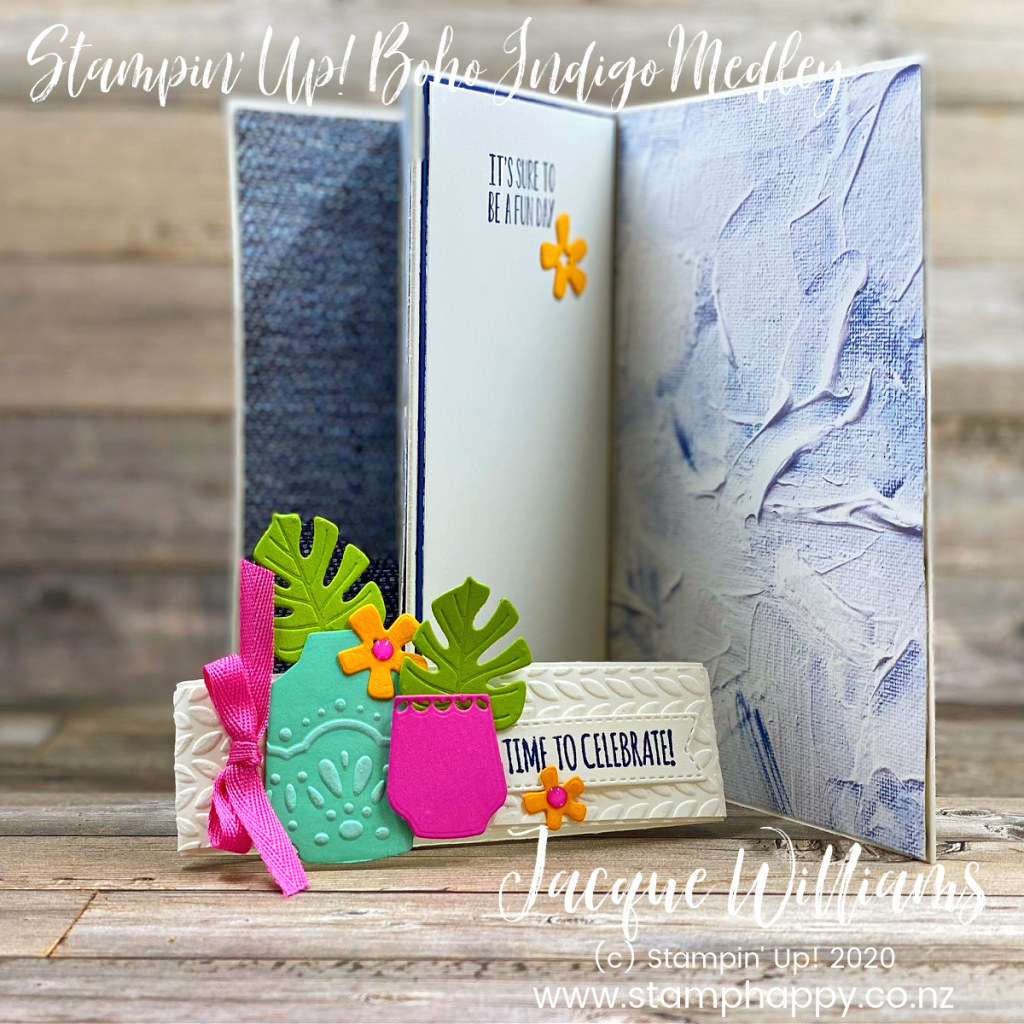 stampin up boho indigo in good taste stampin up new zealand classes tutorials online kits videos jacque jackie williams fun fold card masculine