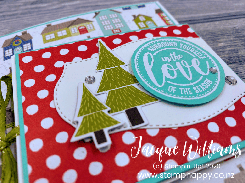 stampin up new zealand video tutorial fun fold fancy fold trimming the town christmas card complete instructions something unique nontraditional instruction