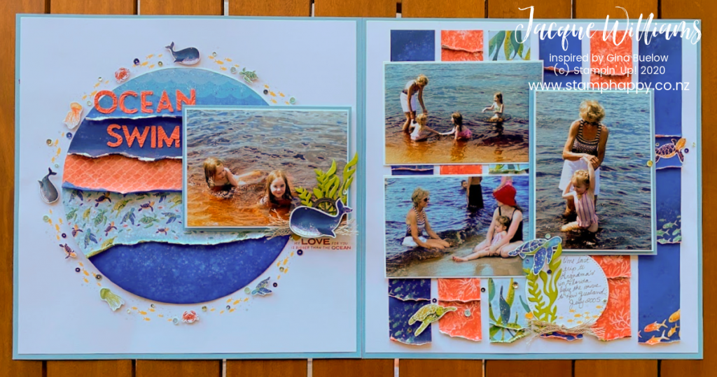 stampin up new zealand beach layout scrapbooking whale done whale of a time ocean photos scrapbooking classes auckland hamilton tauranga nelson