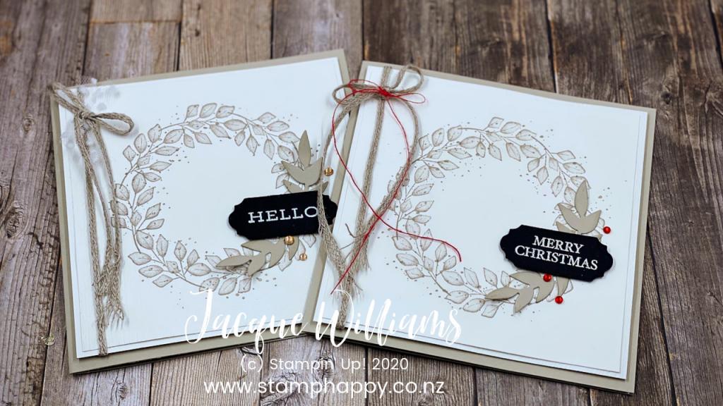 stampin up new zealand craft classes card class auckland nelson hamilton tauranga wreath wedding christmas card vintage