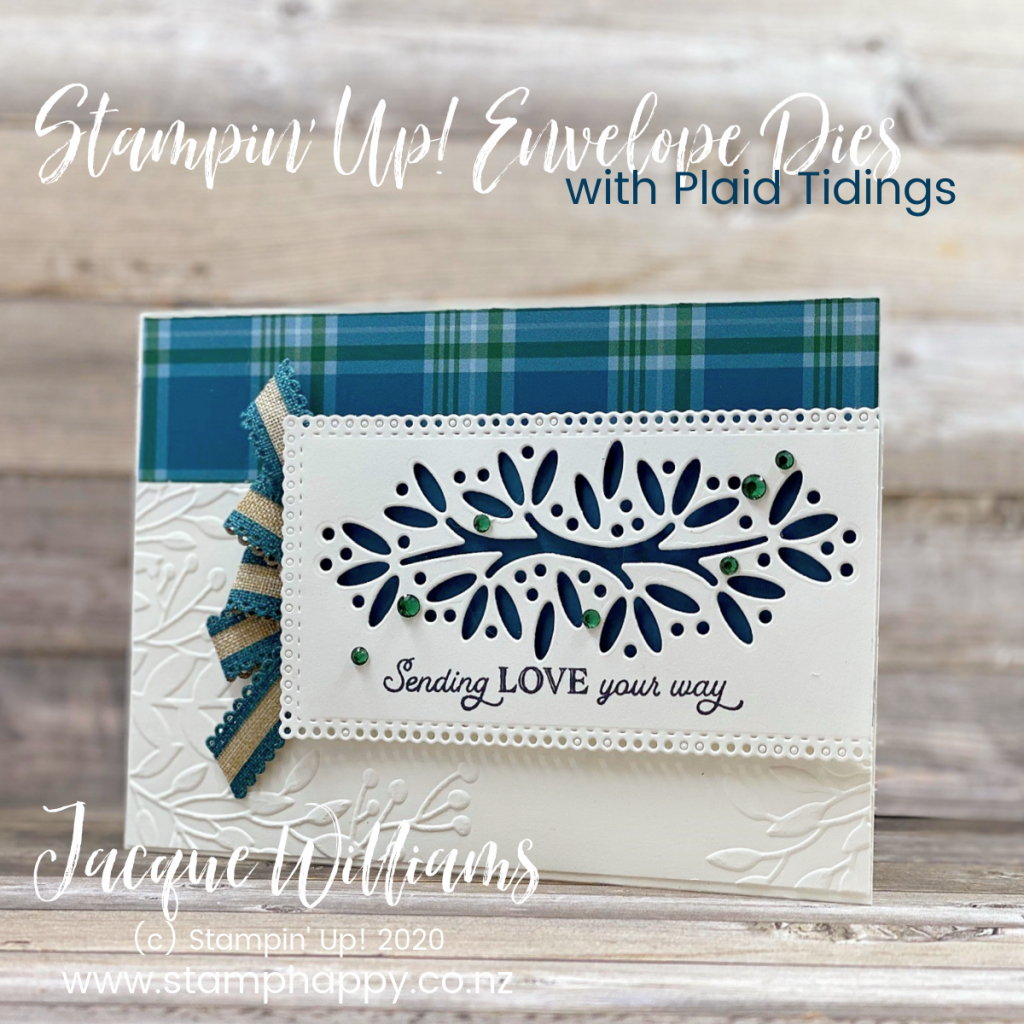 stampin up new zealand classes card classes cardmaking shop where to buy craft supplies ornamental envelopes envelope dies window card plaid