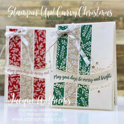Curvy Christmas Card in Just Minutes!  Great way to Use Those Leftover Strips of Patterned Paper!