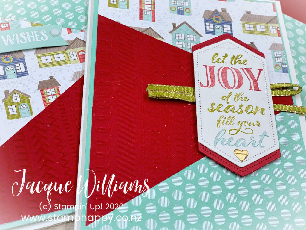 stampin up new zealand puzzle christmas card class using printed papers trimming the town video tutorial festive how do I