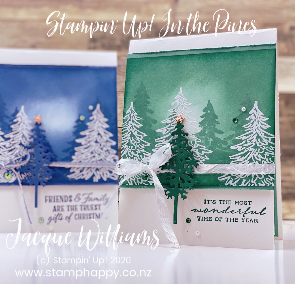 Make a Christmas card with just one colour of ink pad!  Video instructions on the sponging technique and this adaptable card idea.   In the  Pines tree card