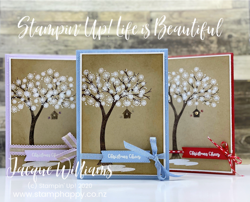 Make a beautiful tree card for any occasion (birthday, christmas, hello, sympathy) with the tree image in the Life is Beautiful stamp set.  Pick your favorite color and go!