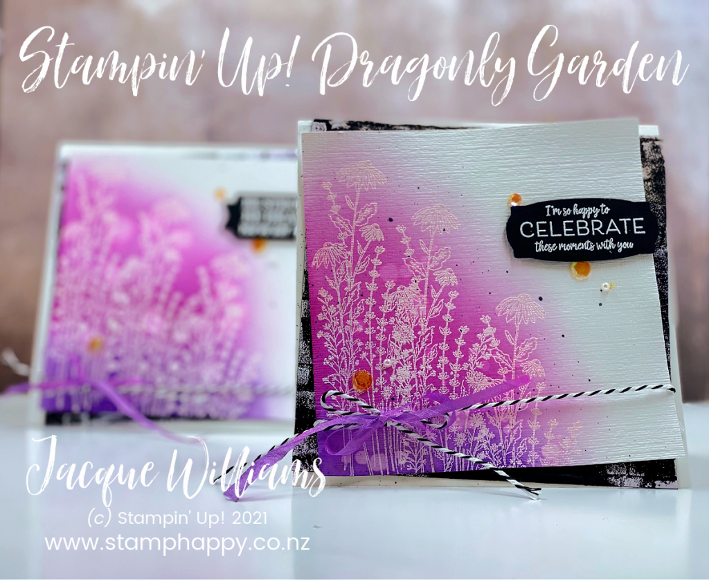 Create a beautiful emboss resist project with bright colours and the wispy flowers in the Dragonfly Garden Set.  You'll love how beautifully the new Blending Brushes add soft color to your projects!  Jacque Williams New Zealand Stampin' Up! Stamping Classes
