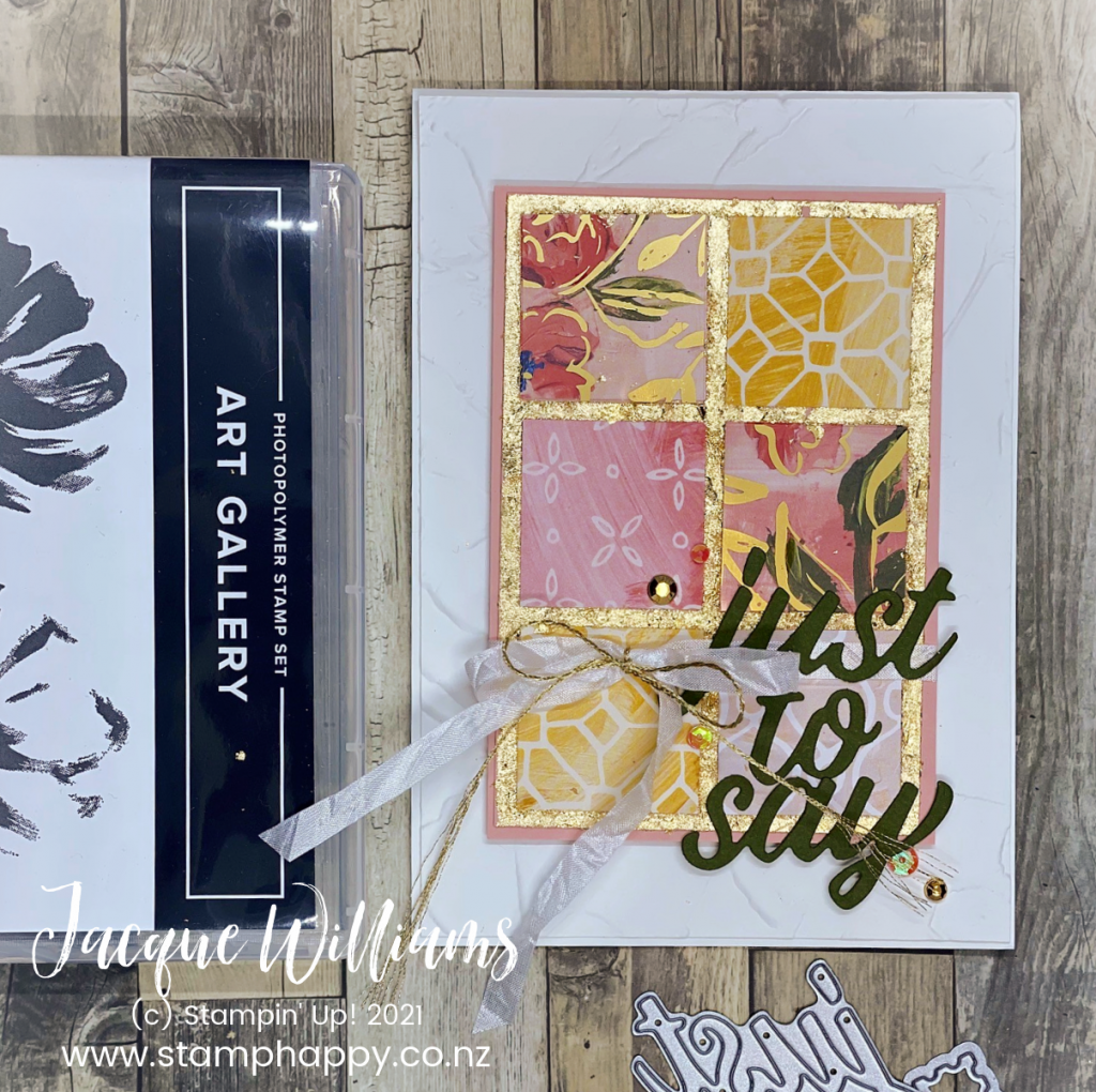 Gold Leafing is quick, easy, and gives your projects a very  elegant look!  The Fine Art Floral Suite features Gold Leafing, along with pretty papers and a Painter's Paste Embossing folder for rich texture.