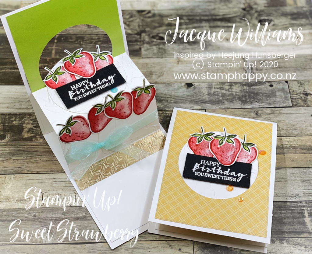 Create a fun pop up birthday card with a surprise strawberry cake inside!  Stamping classes New Zealand - Jacque Williams  Stampin Up Sweet Strawberry Pop Up Fun Fold Card