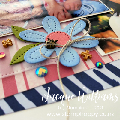 Cheerful Pierced Blooms #Smile Scrapbook Layout