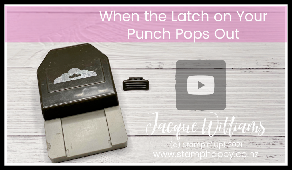 If you've ever had the latch on your Stampin' Up! punch pop out or fly across the room, here's likely why it happens and how to QUICKLY and easily put it back together!   Stamping Up Punches and How to Fix Them   - Jacque Williams Card Classes