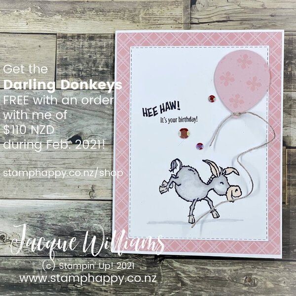 Make a cute birthday card in any color for a loved one with the Darling Donkeys set!  Add the Balloon Punch to quickly and easily create any number of birthday cards!  stamp classes New Zealand