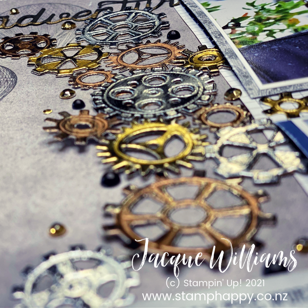 Create a masculine, steampunk double page scrapbook layout with the Garage Gears Dies and gold, silver, and copper foil!   scrapbook classes new zealand
