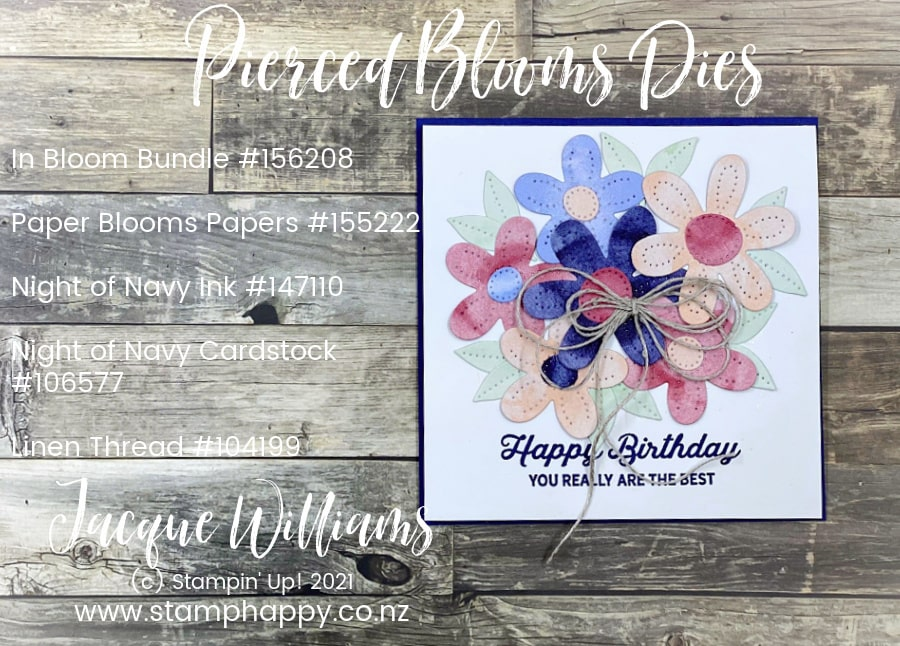 Make an easy bouquet of beautiful stitched flowers with the Pierced Blooms dies and the Paper Blooms watercolored papers!  stamp classes New Zealand