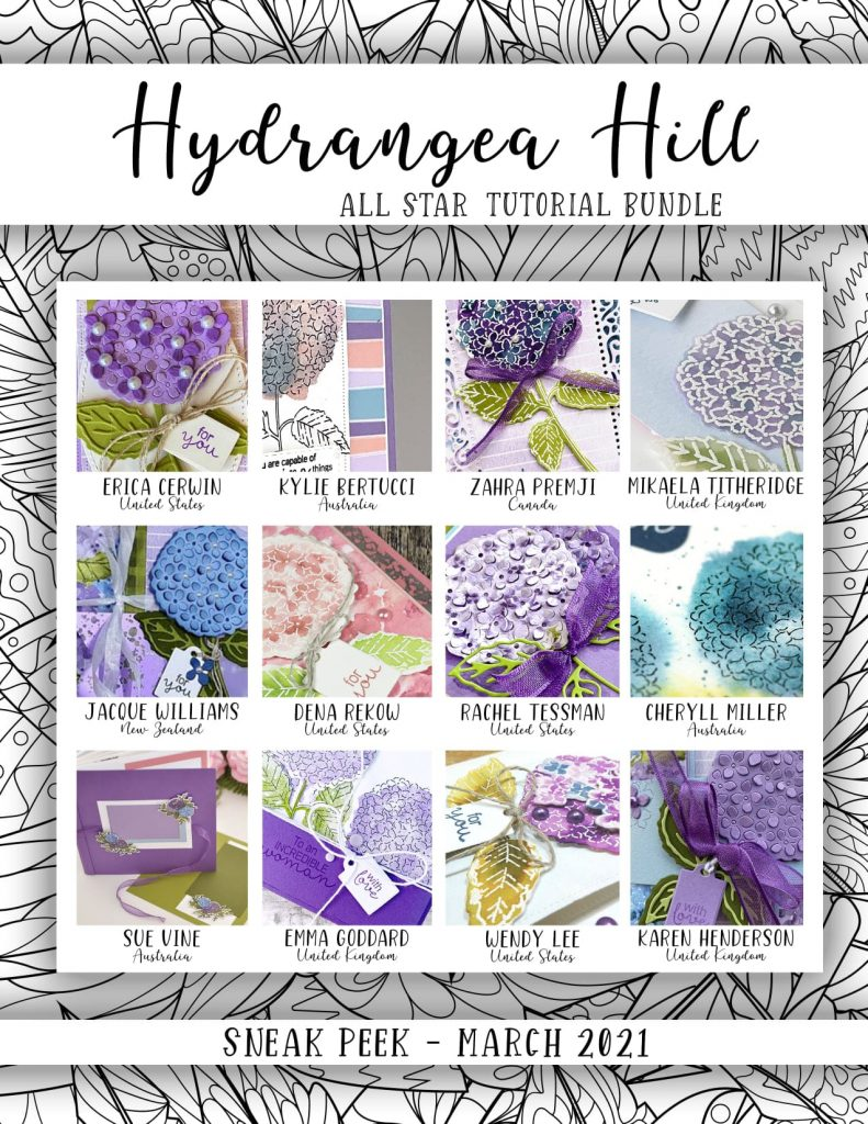 12 Exclusive projects from 12 designers around the world – all featuring the Hydrangea Hill Suite!  This is a wonderful companion to get the most from your Hydrangea Hill products.  Each tutorial includes several photos, a complete supply list, cutting measurements in both metric and imperial, plus a link to an exclusive video, showing you the techniques step by step.  Get greater value from your product purchase with this compilation of project ideas!