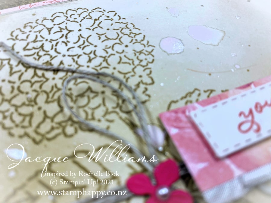 Create a beautiful hydrangea card in any color you wish simply with ink and a blending brush!  Learn this and many more techniques on my social channels and/or coming to my card and scrapbooking classes in New Zealand!