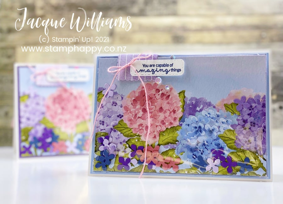 Make an EASY and QUICK shaker card with the clear envelopes and small die cuts!  I've used the Hydrangea Hill Suite to make a fun, interactive card out of unexpected stamping products!  craft classes online and in New Zealand with Jacque Williams