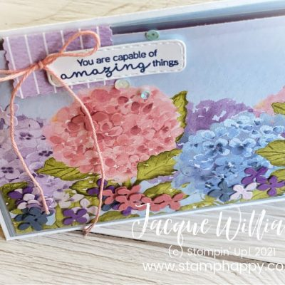 Easy Hydrangea Hill Shaker Card – Use Your Scraps!