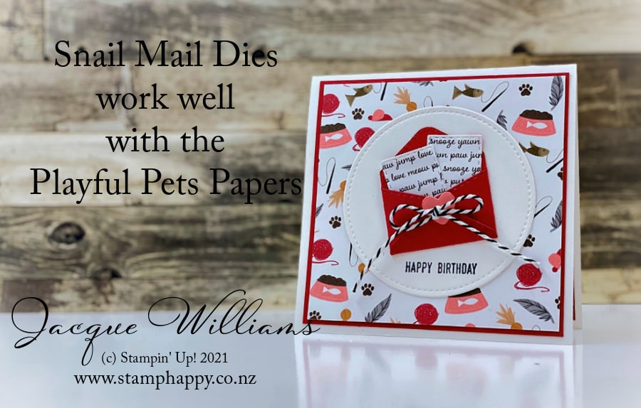 "Make a fun, easy gift card with the Snail Mail dies and the cute Playful Pets papers.  They are perfect for the little ""letter"" die!  Join me for a craft and stamping class in New Zealand!"
