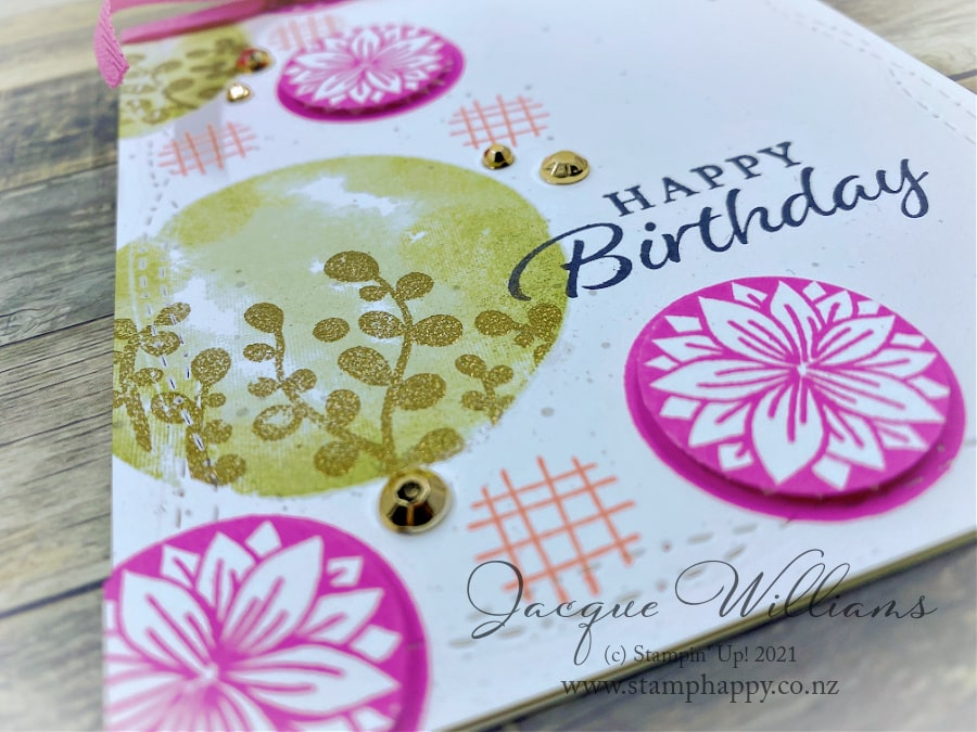 Make a gender neutral card with the Circe Celebration and the color palette of your choice!  Click to see the subtle details that make this simple card feature lots of texture.  Join me for a card class in New Zealand!  www.stamphappy.co.nz
