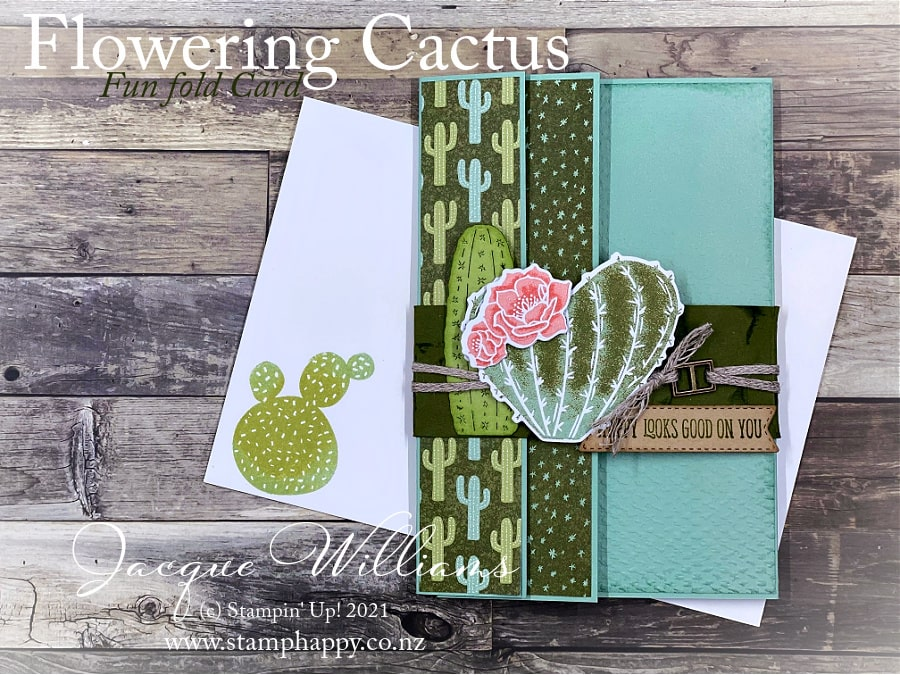 Create a fun fold card that showcases your favorite paper prints!  I've used the Flowering Cactus for this sample.  Great for the guys, too!  Join me for a rubber stamping class in New Zealand or online.