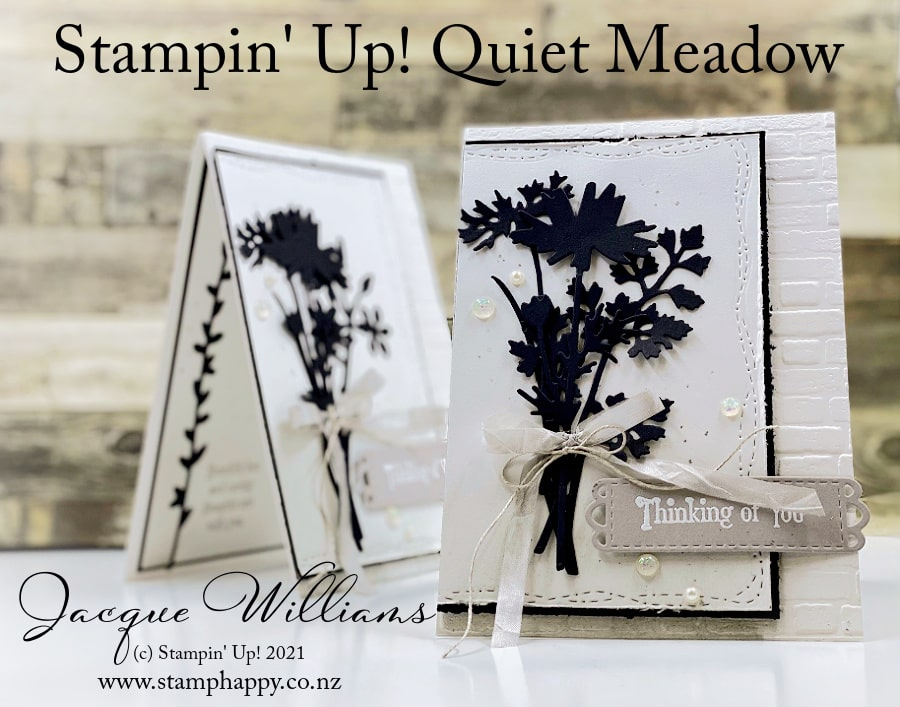 Make a beautiful, quick sympathy card with the new Quiet Meadow bundle.  This set features silhouette wildflowers - perfect for monochromatic cards in any color.  Join me in person or on youtube for creative card making inspiration! www.stamphappy.co.nz
