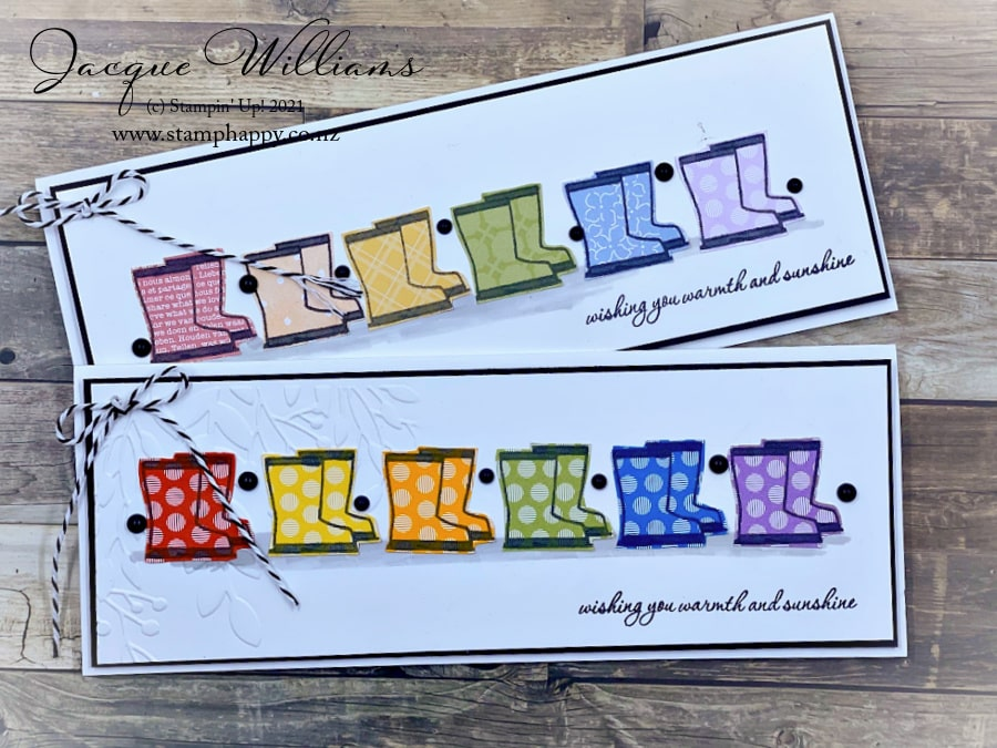 Make an adorable card with rainboots / gumboots using the easy paper piecing technique. Use your scraps up for this one!  Join me for a weekly facebook live.  Jacque Williams Stampin' Up! Independent Demonstrator