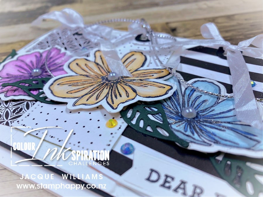 Stampin' Up! Art in Bloom two step stamping flowers card with tags.  Join me for a class in New Zealand www.stamphappy.co.,nz/calendar