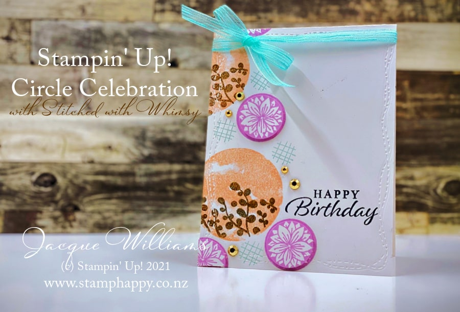 Create a fun, bubbly, party card with the Circle Celebration stamp set and a fresh new color combination!