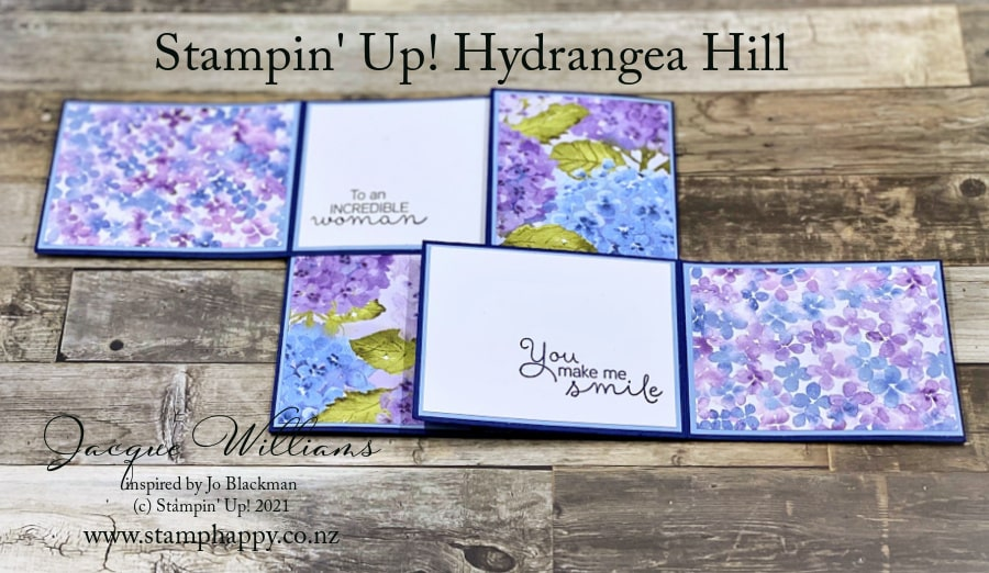 Create fun fold card with the Hydrangea Hill stamps, dies, and papers.  Join me on YouTube!  stamphappynz with Jacque Williams