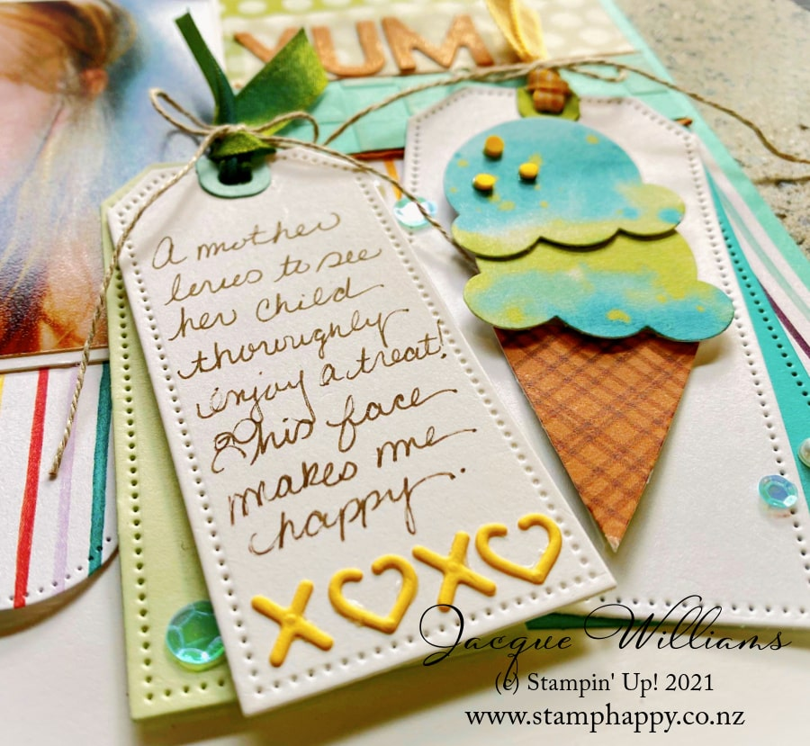 The Ice Cream Corner papers are perfectly designed to work with the Ice Cream Punch for an effective, easy embellishment to your next summer project!