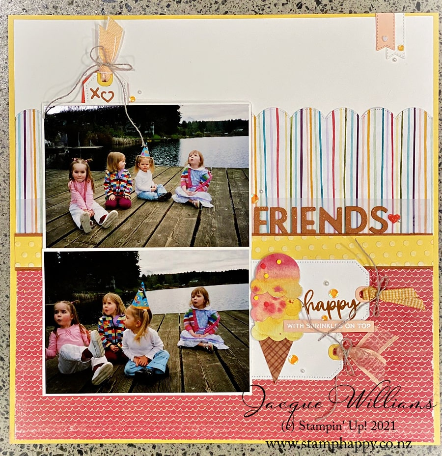 The Ice Cream Corner Suite is perfect for bright, summery layouts.  Join me for a scrapbooking class in New Zealand.