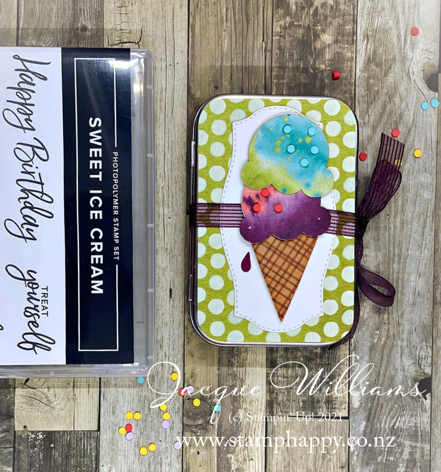 Make a fun, interactive card with a small tin and an accordion fold!  I've used the Ice Cream Corner papers, stamps, and dies for this fun birthday card.