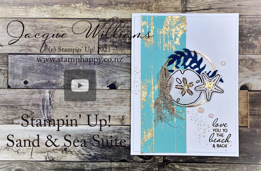 Create a fresh beach or nautical card with the Stampin' Up! Sand & Sea collection.   Perfect for New Zealand themed cards, too.  Join me for a class www.stamphappy.co.nz/calendar