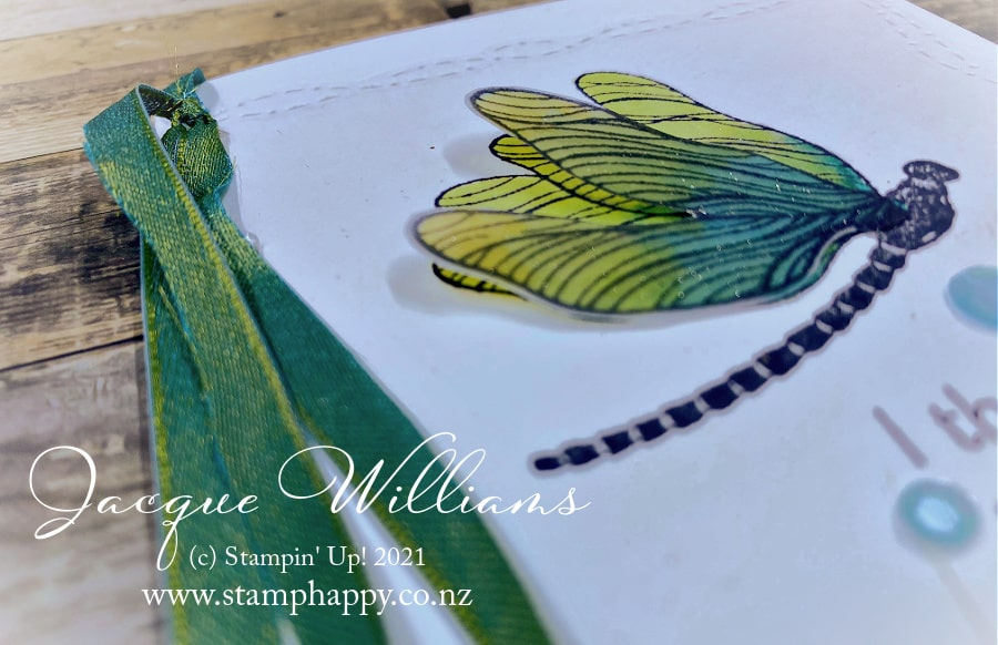 Cute dragonfly card with the Stitched with Whimsy dies