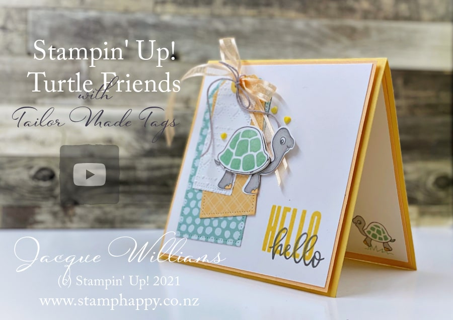"""My """"must have"""" from the new Stampin' Up! Annual Catalogue: Tailor Made Tags!  Make this cute card with me also featuring the Turtle Friends stamp set and punch."""
