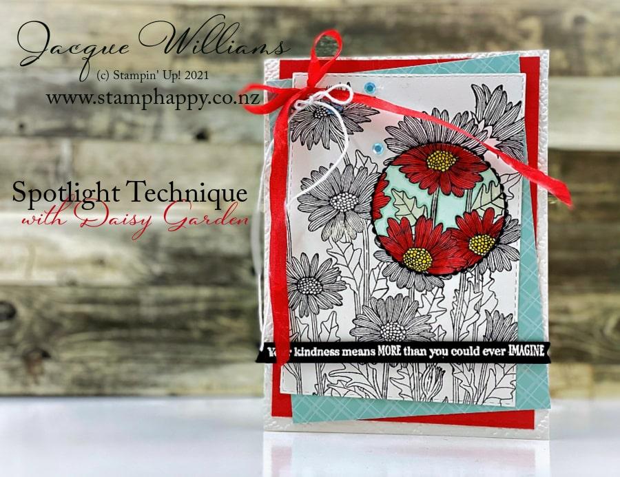 Beautiful Daisy Garden card featuring the spotlight technique.   Free video tutorial