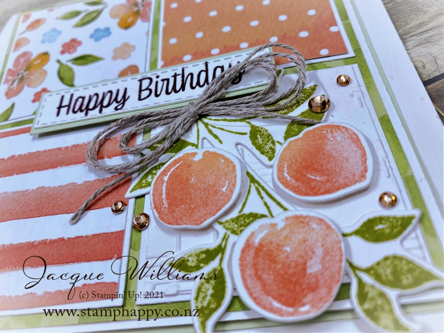 Create a four square card with the Pretty as a Peach papers and stamp and die bundle!  Video tutorial with Jacque Williams, New Zealand