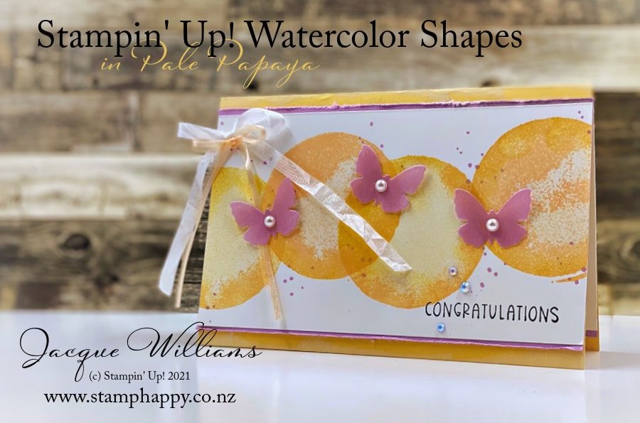 Create a simple card with the Watercolor Shapes stamp set and pretty butterflies.  Video Tutorial!
