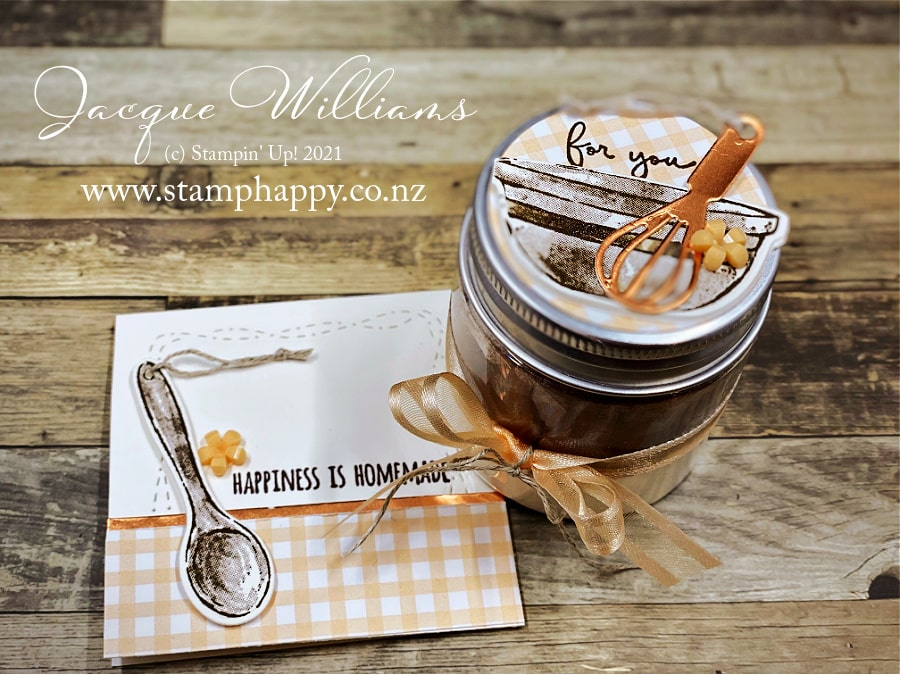 Make a homemade Mug Cake gift with the Mini Jam Jars and the What's Cookin' bundle!  with Jacque Williams   Free recipe included