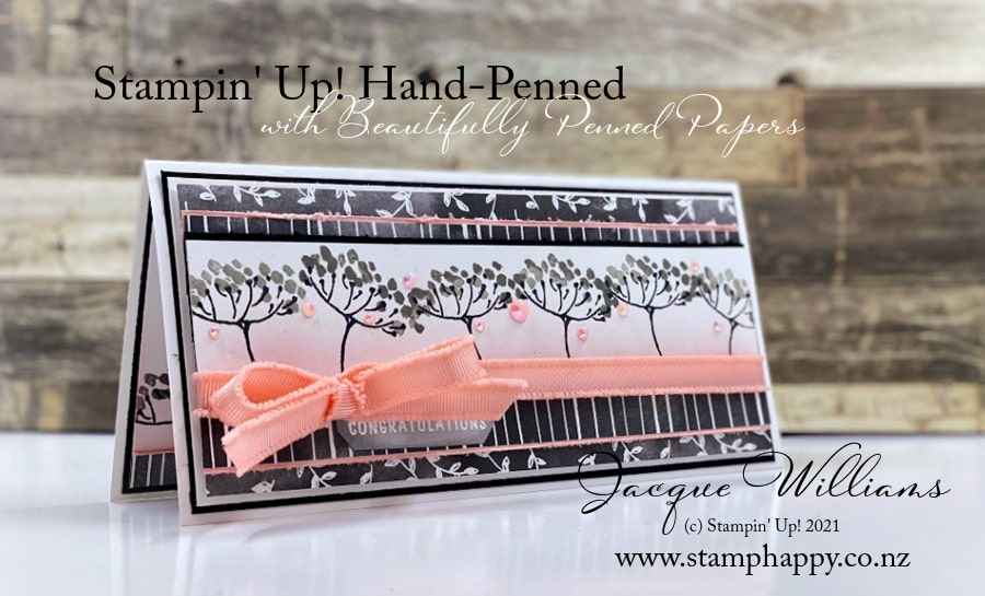 Make a gorgeous card front with just your strips of leftover papers!  Get the Beautifully Penned papers free with qualifying purchase!  with Hand-Penned