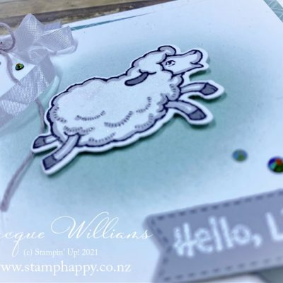 Counting Sheep Baby Card & How To Tie an Easy Double Bow