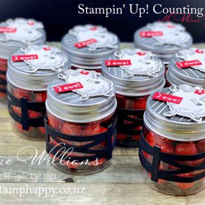 New! Counting Sheep Altered Mini Jam Jars