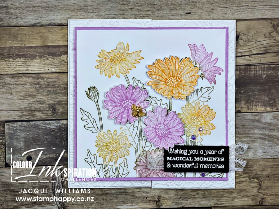 Use the Daisy Garden Stampin' Up! set to create a large focal point for the front of your project.